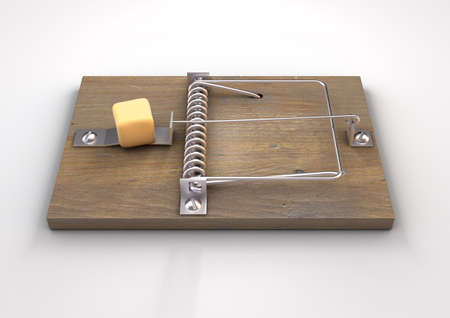 A regular wood and metal mousetrap baited with a block of cheese on a white isolated studio background - 3D render