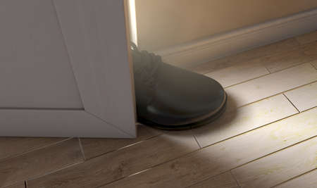 A realistic literal depiction of the saying get a foot in the door - 3D render