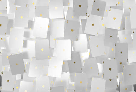 An array of reflective white casino ace cards with gold markings floating in the air on a dark classy background - 3D render Foto de archivo