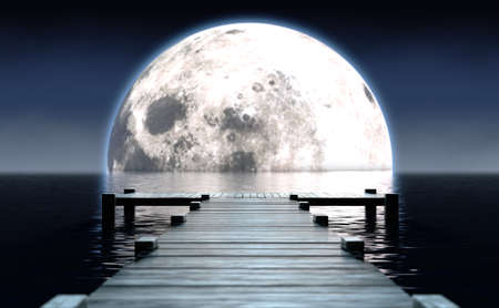 A wooden boat jetty jutting out across calm water with a full moon rising on the horizon at night - 3D render