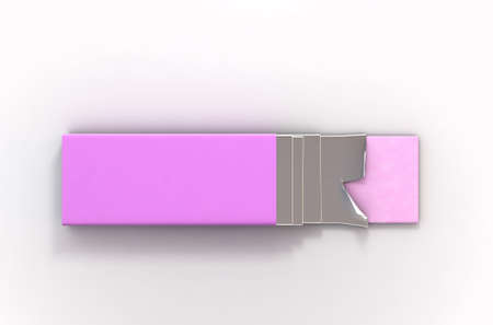 A non branded bubble gum packaging with a pink wrapper and four foiled sticks of gum protruding out - 3D render