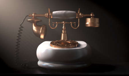 An embellished vintage marble and brass art deco telephone on a shelf lite by a spotlight on a dark dramatic background - 3D render