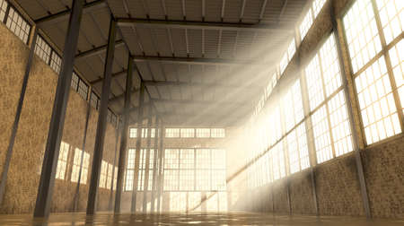 An empty and abandoned factory interior in the daytime with bright early morning light rays streaming in the windows - 3D render Stock Photo