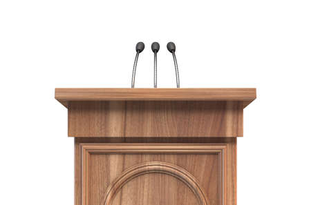 A wooden speech lecturn podium with a microphone on an isolated white studio background - 3D render