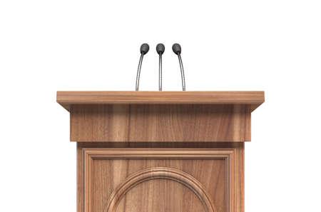 Ein hölzernes Rednerpult mit Mikrofon auf einem isolierten weißen Studiohintergrund - 3D-Rendering