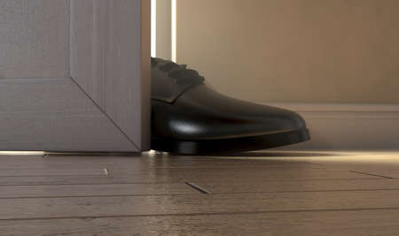 A realistic literal depiction of the saying get a foot in the door - 3D render 版權商用圖片