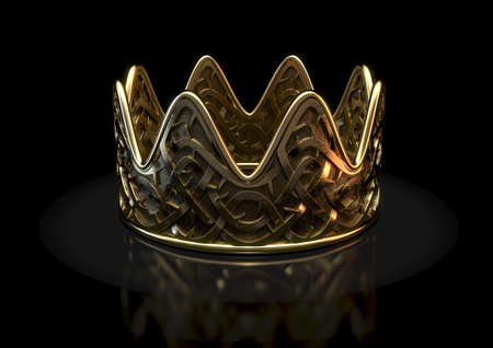A religious crucifixion concept of a gold royal crown with a stylized woven thorn pattern etched into its surface on an isolated black studio background - 3D render