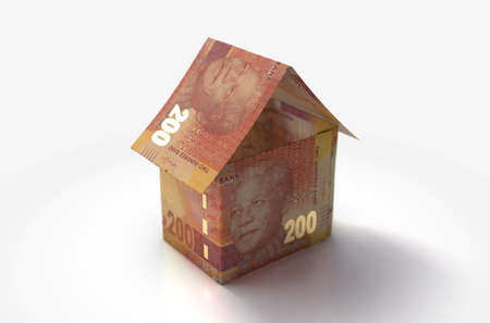 A concept of south africa rand bank notes folded into the shape of a simple house on an isolated background - 3D render