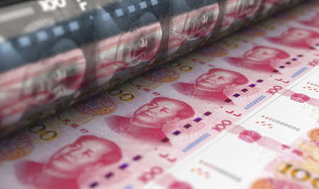 A concept image showing a sheet of new Chinese yuan renminbi notes going through a roller in its final phase of a print run - 3D render