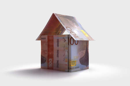 A concept of norwegian kroner bank notes folded into the shape of a simple house on an isolated background - 3D render