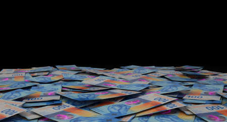 A close-up view of a scattered pile of swiss franc banknotes - 3D render Imagens