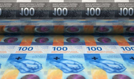 A concept image showing a sheet of new Swiss Franc notes going through a print roller in its final phase of a print run - 3D render