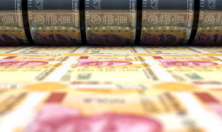 A concept image showing a sheet of new indian rupee notes going through a roller in its final phase of a print run - 3D render
