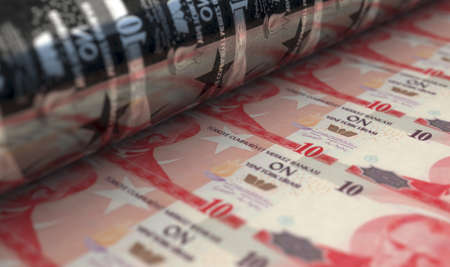 A concept image showing a sheet of new Turkish Lira notes going through a roller in its final phase of a print run - 3D render
