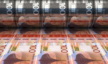 A concept image showing a sheet of new Norwegian Kroner notes going through a print roller in its final phase of a print run - 3D render Imagens