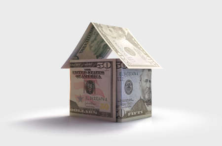 A concept of US dollar bank notes folded into the shape of a simple house on an isolated background - 3D render