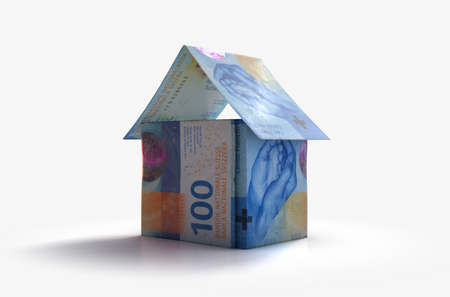 A concept of bank swiss franc notes folded into the shape of a simple house on an isolated background - 3D render
