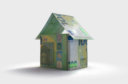 A concept of euro bank notes folded into the shape of a simple house on an isolated background - 3D render Imagens