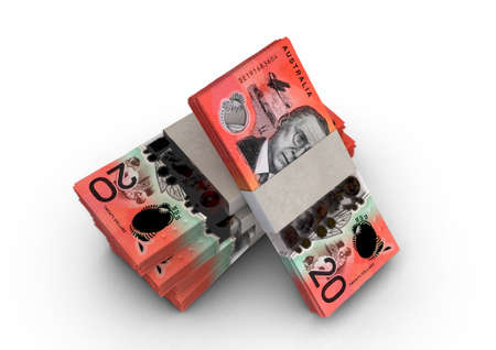 A stack of bundled australia dollar banknotes on an isolated background - 3D render