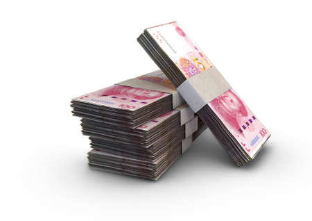 A stack of bundled china yuan banknotes on an isolated background - 3D render