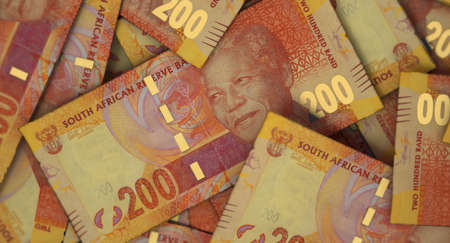 A close-up view of a scattered pile of South African Rand banknotes - 3D render