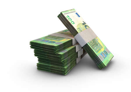 A stack of bundled european euro banknotes on an isolated background - 3D render
