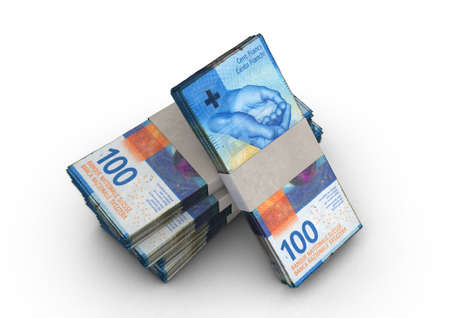 A stack of bundled swiss franc banknotes on an isolated background - 3D render