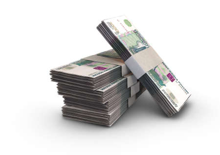 A stack of bundled russia ruble banknotes on an isolated background - 3D render Imagens
