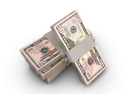 A stack of bundled US Dollar banknotes on an isolated background - 3D render