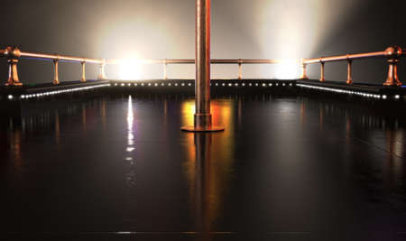 An empty strip club dancing stage with a pole and brass railings and fluorescent lights lit by spotlights on a dark background - 3D render