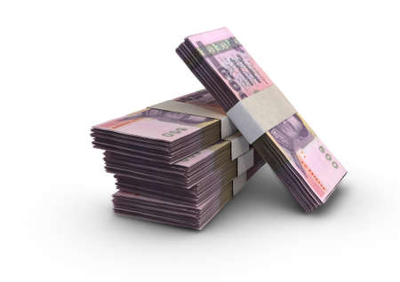 A stack of bundled Thailand baht banknotes on an isolated background - 3D render