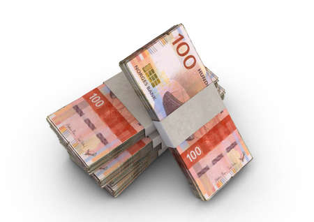 A stack of bundled norwegian kroner banknotes on an isolated background - 3D render Imagens