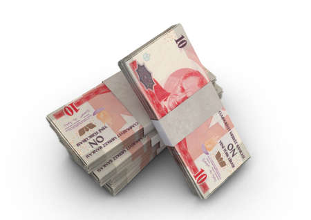 A stack of bundled turkish lira banknotes on an isolated background - 3D render Imagens