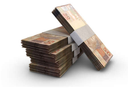 A stack of bundled brazil real banknotes on an isolated background - 3D render