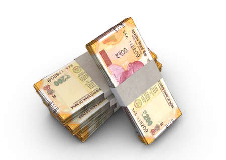 A stack of bundled Indian Rupee banknotes on an isolated background - 3D render