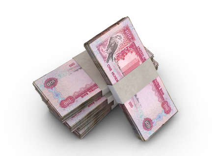 A stack of bundled UAE dirham banknotes on an isolated background - 3D render