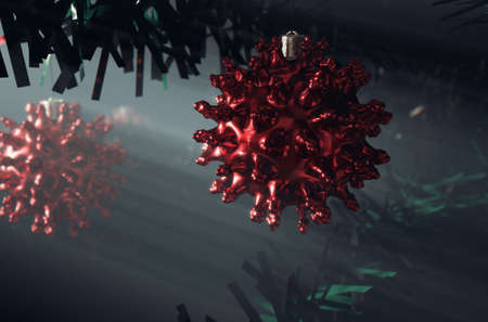 A concept of red christmas baubles in the shape of a molecule hanging in a fake green christmas tree - 3D render