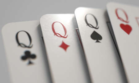 A close up view of a fanned out suit of four casino queen playing cards on a light background - 3D render Standard-Bild