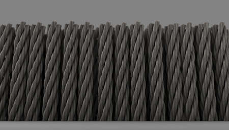 A microscopic close up view of a cross section of simple braided twisted carpet fibers on a white background - 3D render