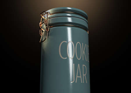 A concept showing a blue ceramic cookie jar with a gold wire closing mechanisms on dark spotlit studio background - 3D render