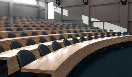 An interior of an empty lecture hall auditorium with rows of curved wooden desks and chairs lit by morning sunlight - 3D render