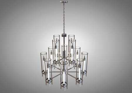 A decorative chandelier made out of tarnished iron with upright glass lamps on an isolated background - 3D render Imagens
