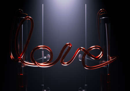 A concept of a glass chemistry set with the word love spelt out in red liquid in the pipes between two spotlit pipettes on an isolated dark background - 3D render
