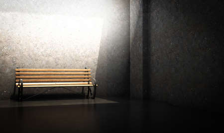 A concept of a wood and iron park bench in a concrete chamber spotlit by an overhead light - 3D render Standard-Bild