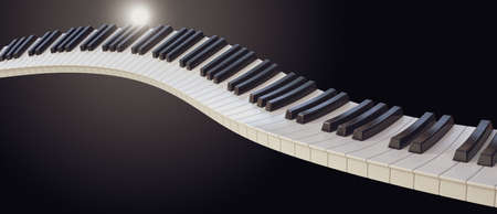 A concept of a wave of piano keys on a dark moody background - 3D render