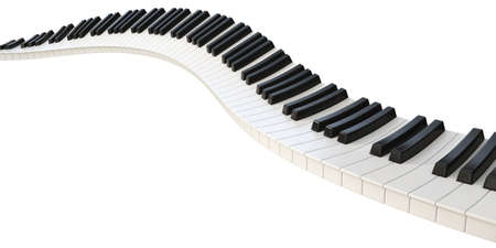 A concept of a wave of piano keys on a white background - 3D render