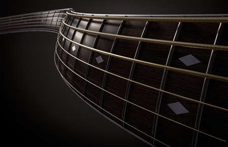 A surreal concept of a wavey shaped closeup of a dark wooden guitar neck fretboard and strings in perspective - 3D render 免版税图像