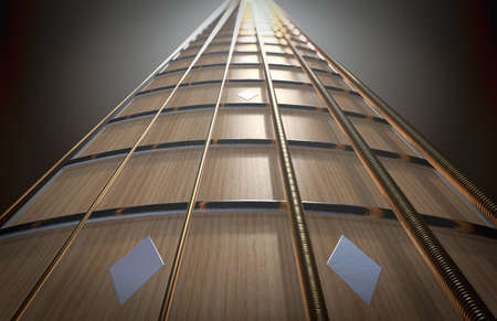 A concept of a closeup of a light wooden guitar neck fretboard and strings in perspective - 3D render