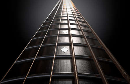 A concept of a closeup of a dark wooden guitar neck fretboard and strings in perspective - 3D render 免版税图像