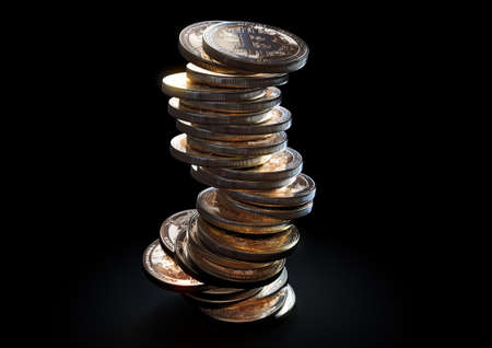 A crumbling and falling stack of gold physical bitcoin coins on a dark background - 3D render
